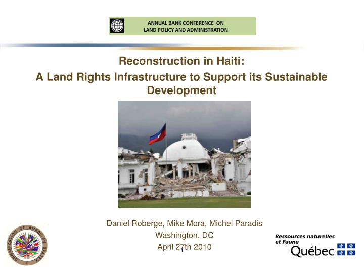 Reconstruction in haiti a land rights infrastructure to support its sustainable development