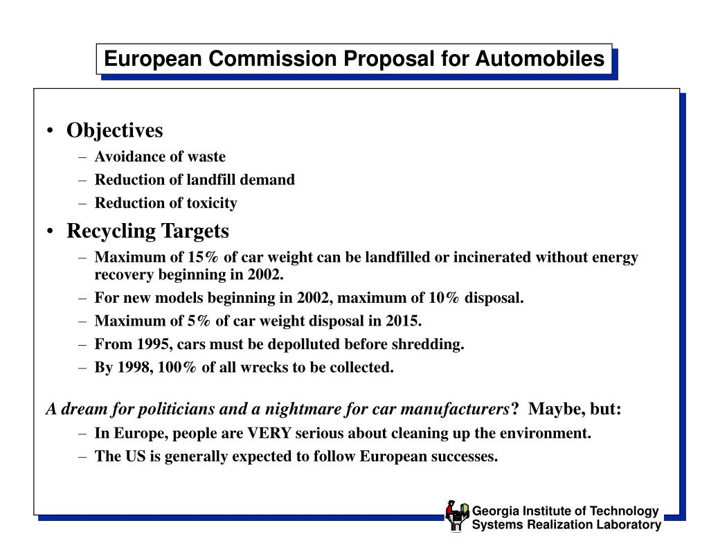 European Commission Proposal for Automobiles