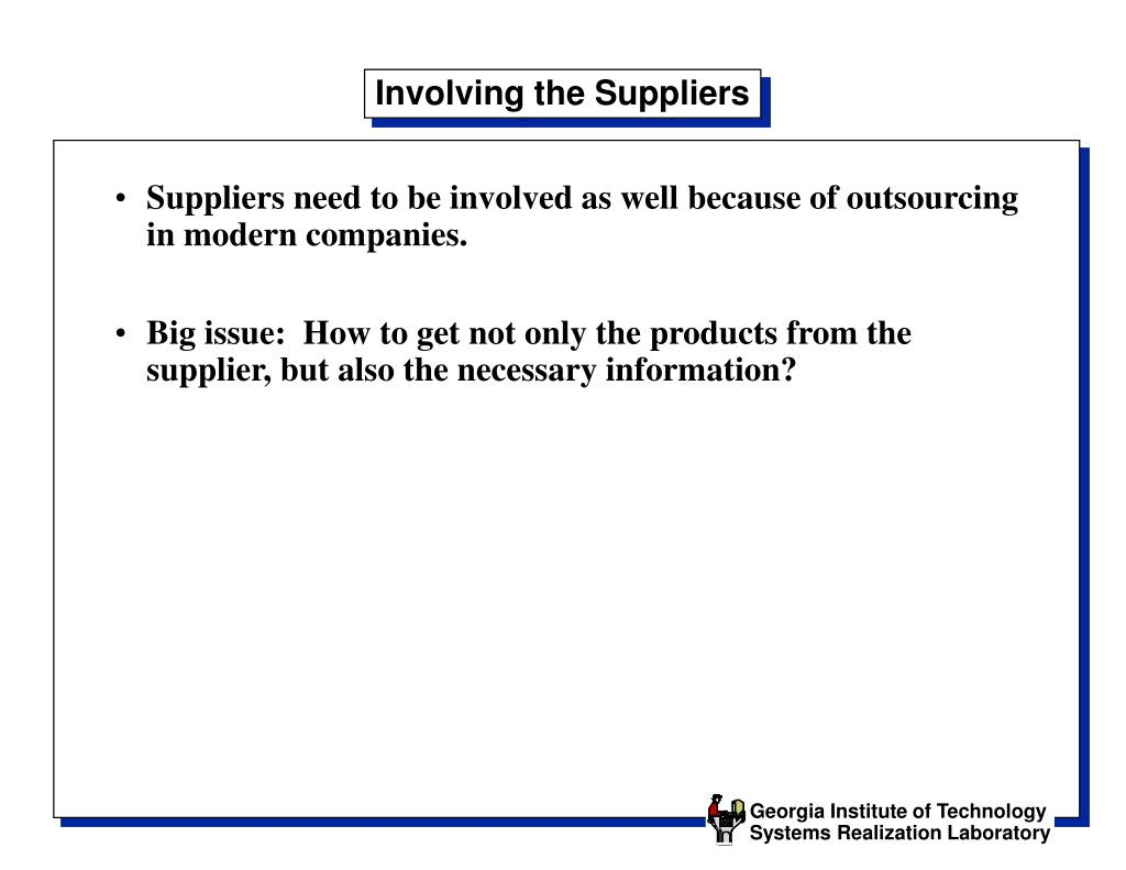 Involving the Suppliers