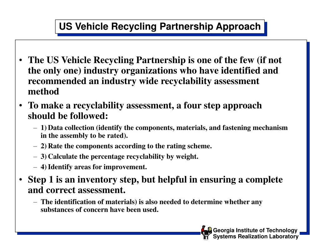 US Vehicle Recycling Partnership Approach