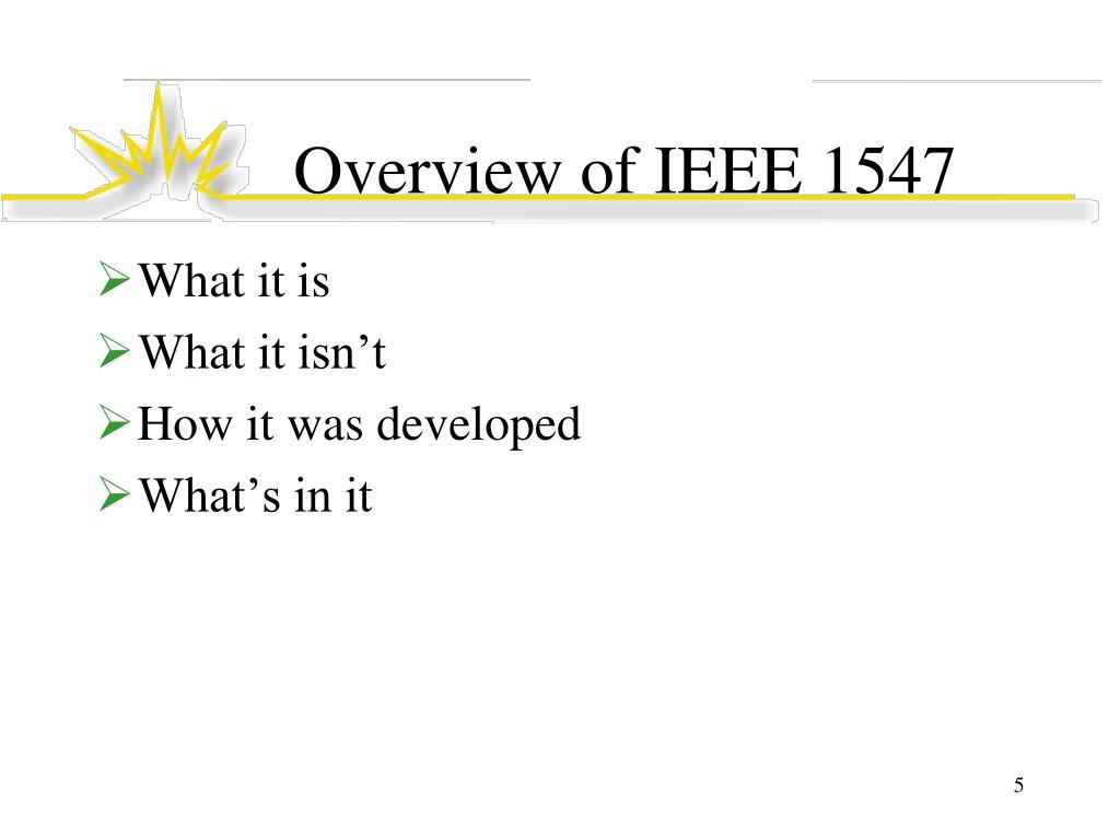 Overview of IEEE 1547