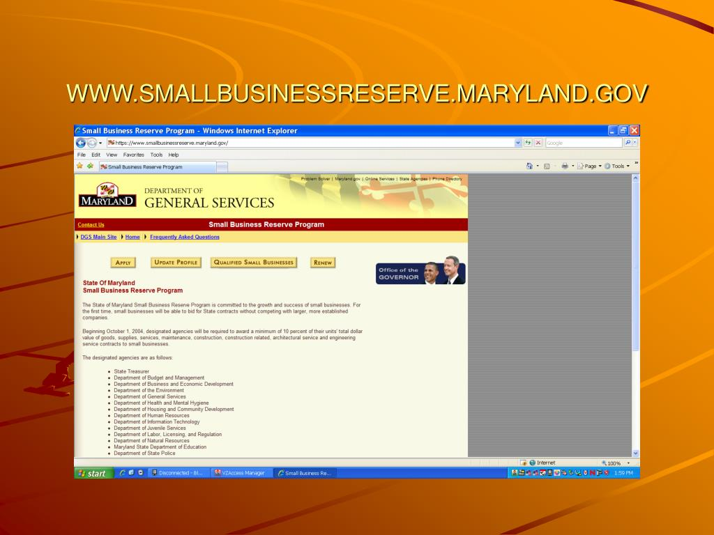 WWW.SMALLBUSINESSRESERVE.MARYLAND.GOV