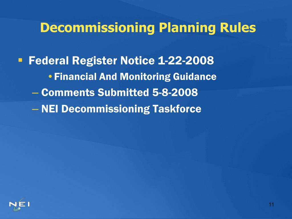 Decommissioning Planning Rules