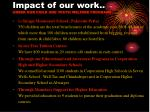 impact of our work under our child and youth welfare programs