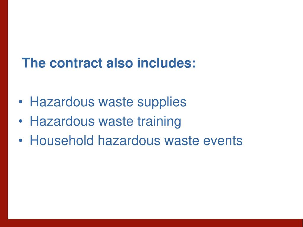 The contract also includes: