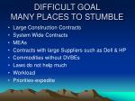 difficult goal many places to stumble