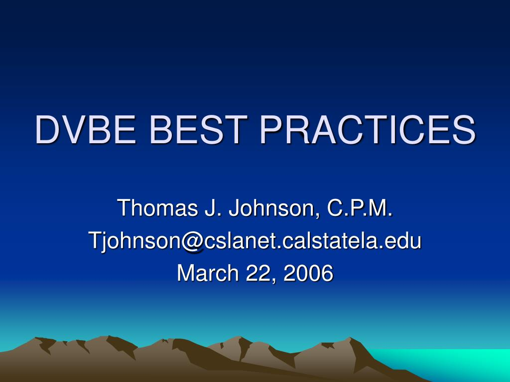 dvbe best practices