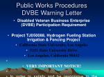 public works procedures dvbe warning letter