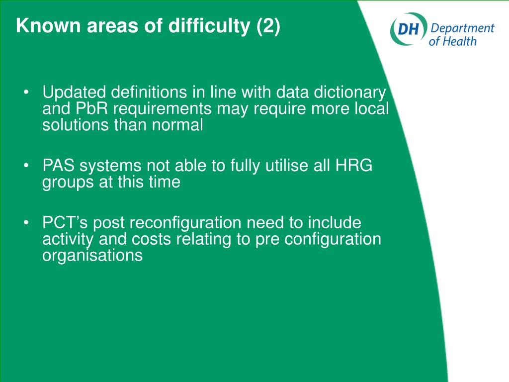 Known areas of difficulty (2)