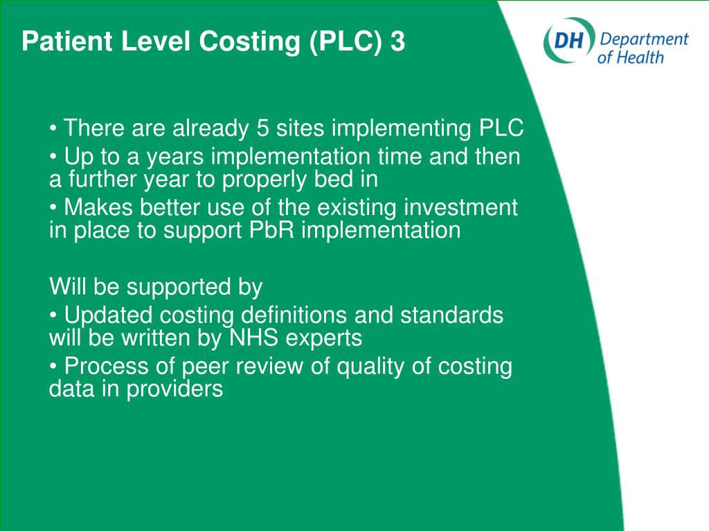 Patient Level Costing (PLC) 3