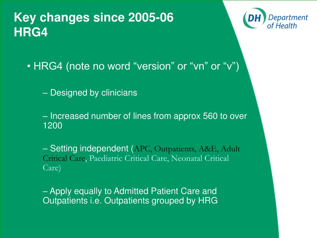 Key changes since 2005-06