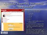 uploading supporting documents to my portfolio