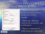 work experience education job training on your resume7