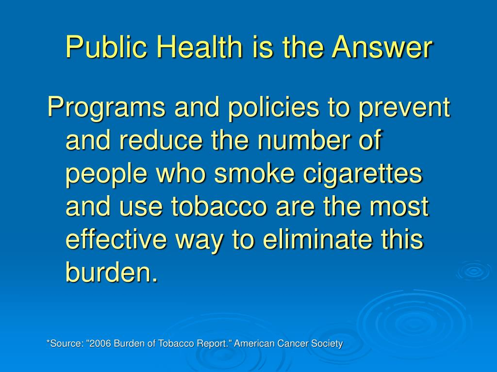 Public Health is the Answer