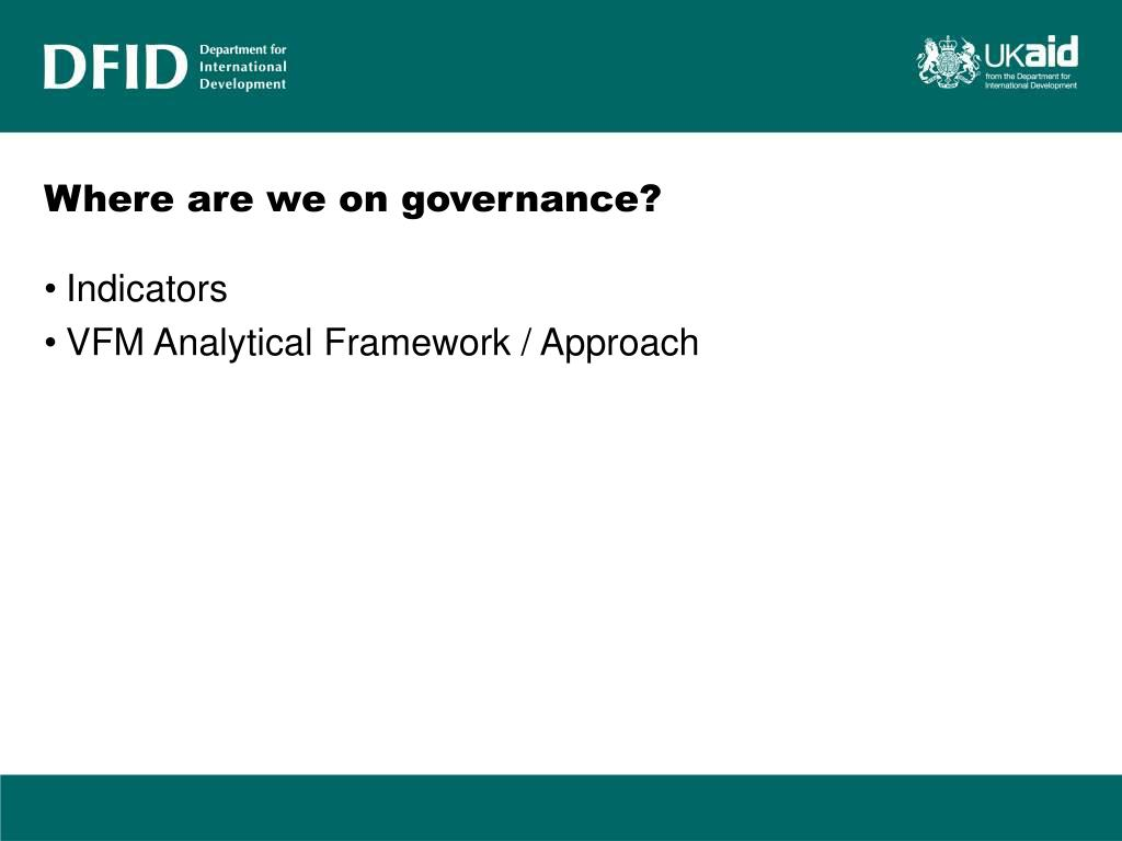 Where are we on governance?