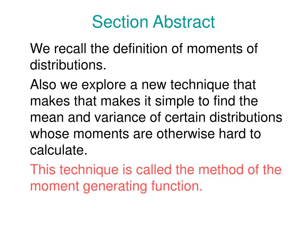Section Abstract
