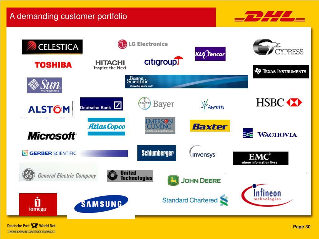 A demanding customer portfolio