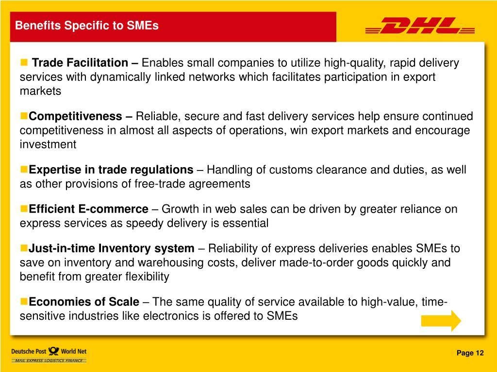 Benefits Specific to SMEs