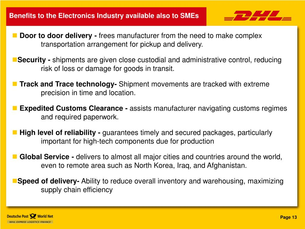 Benefits to the Electronics Industry available also to SMEs