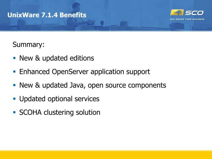 Unixware 7 1 4 benefits