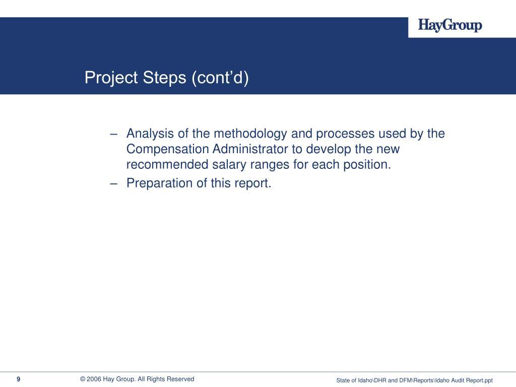 Project Steps (cont'd)