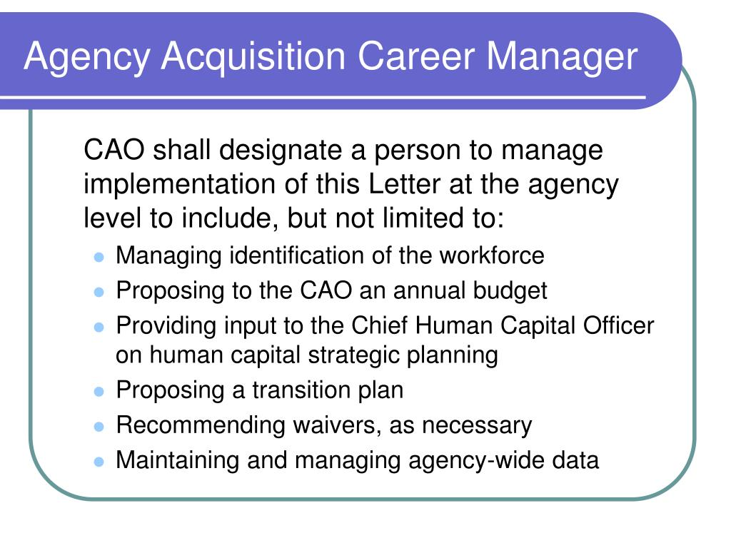 Agency Acquisition Career Manager