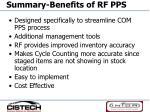 summary benefits of rf pps