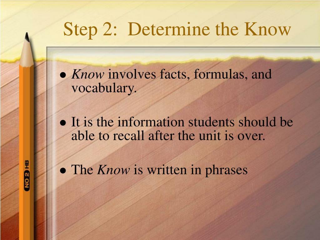 Step 2:  Determine the Know