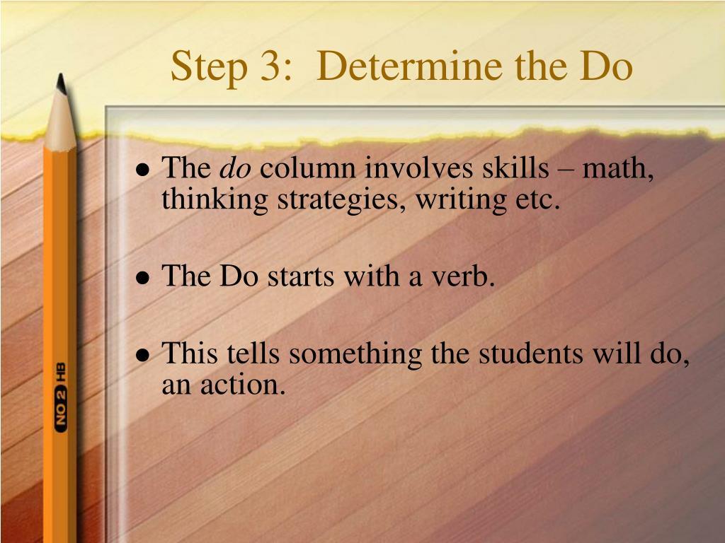 Step 3:  Determine the Do