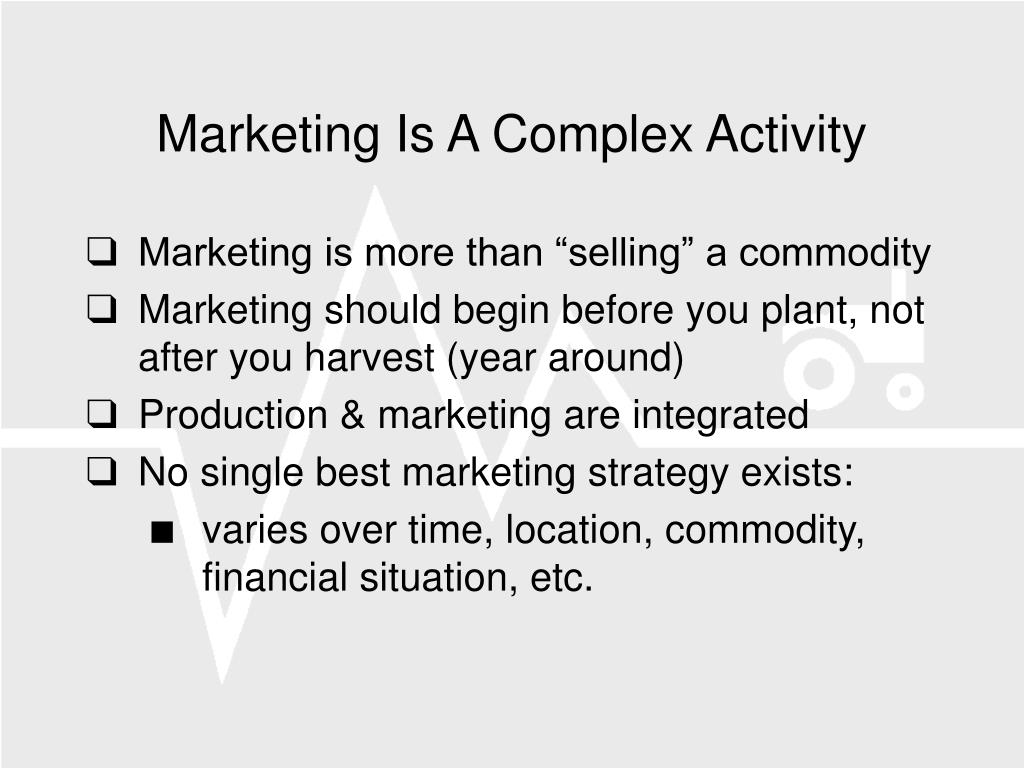 Marketing Is A Complex Activity