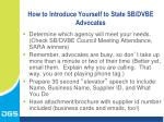 how to introduce yourself to state sb dvbe advocates