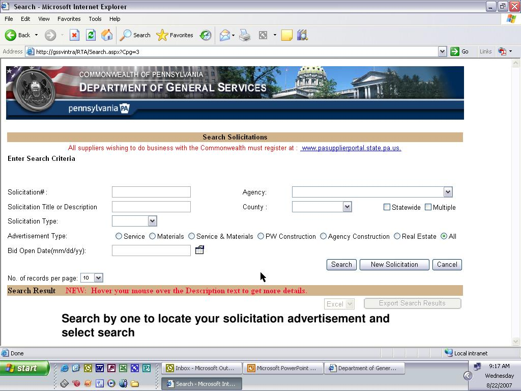Search by one to locate your solicitation advertisement and select