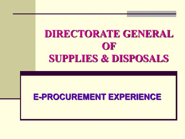 directorate general of supplies disposals n.