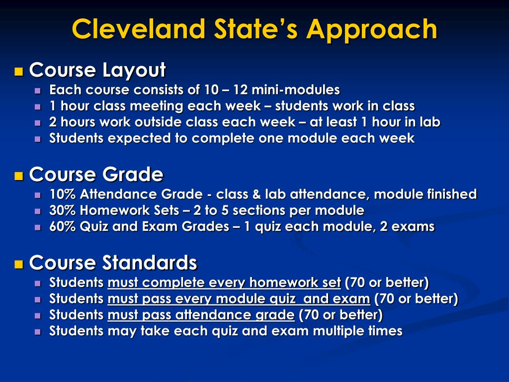 Cleveland State's Approach