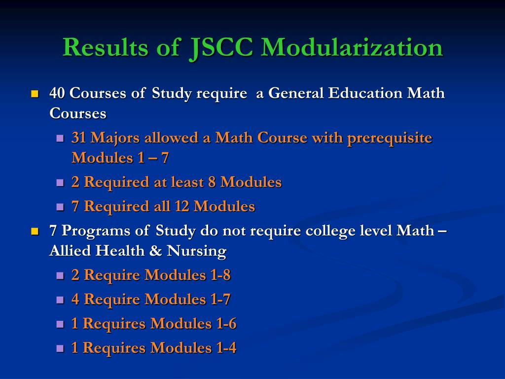 Results of JSCC Modularization