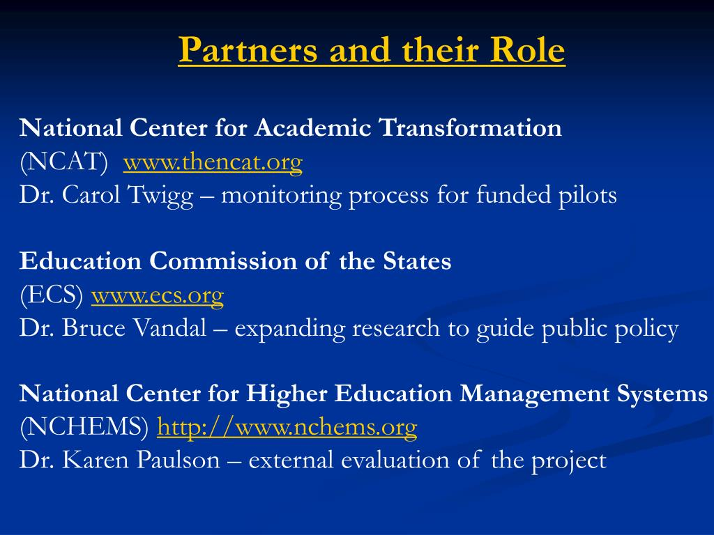 Partners and their Role