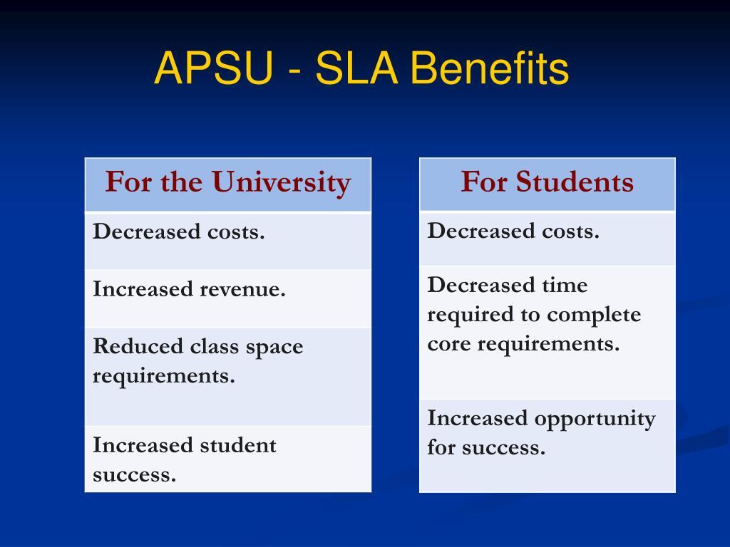 APSU - SLA Benefits