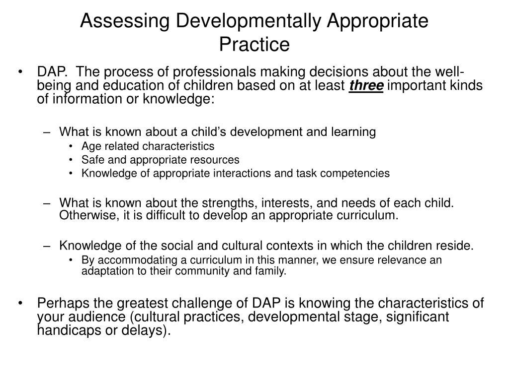 Assessing Developmentally Appropriate Practice