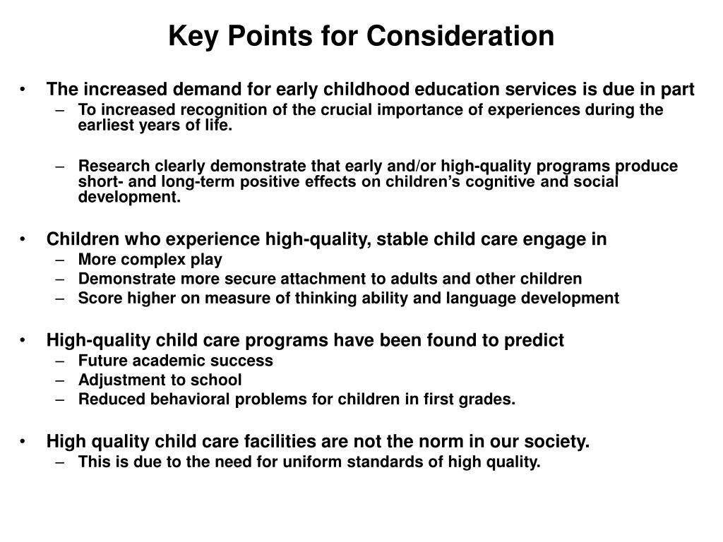 Key Points for Consideration