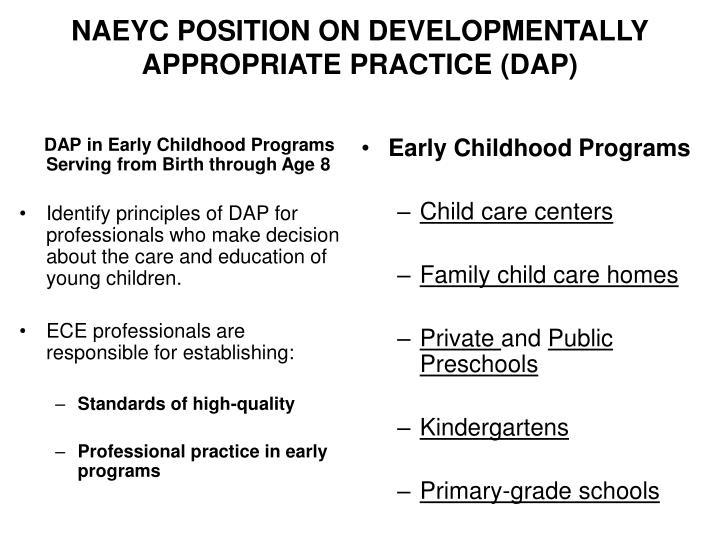 Naeyc position on developmentally appropriate practice dap