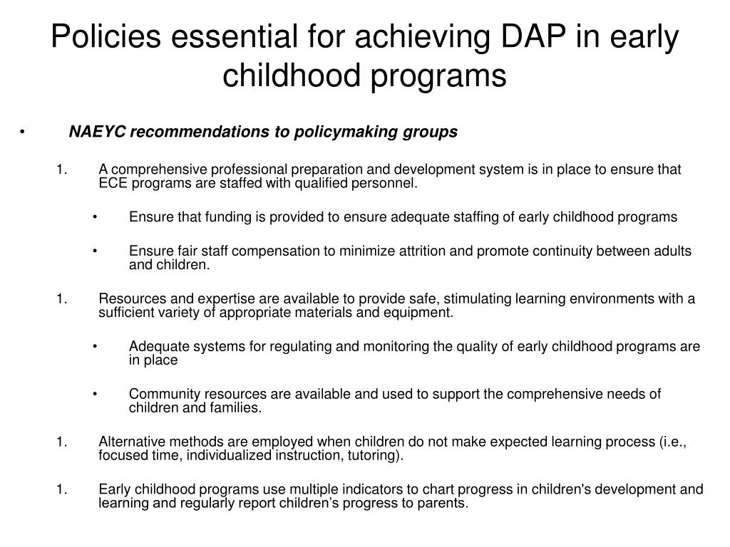 Policies essential for achieving DAP in early childhood programs