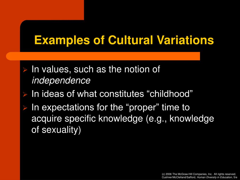 Examples of Cultural Variations