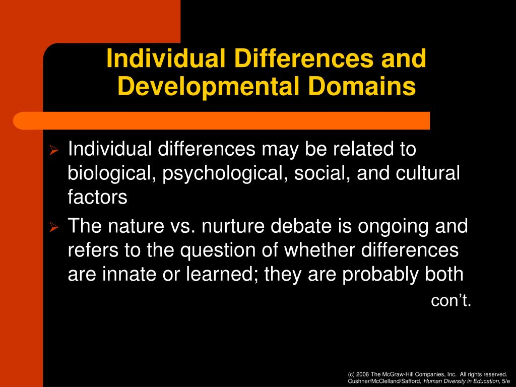 Individual Differences and Developmental Domains