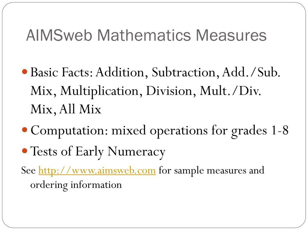 AIMSweb Mathematics Measures