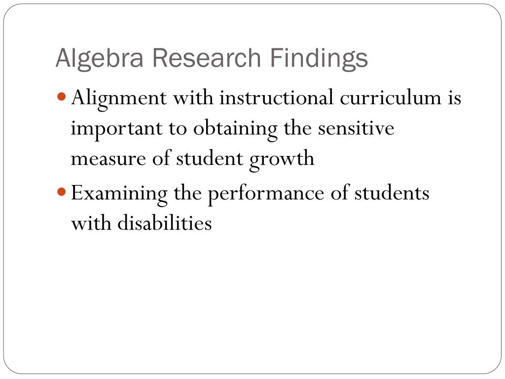 Algebra Research Findings