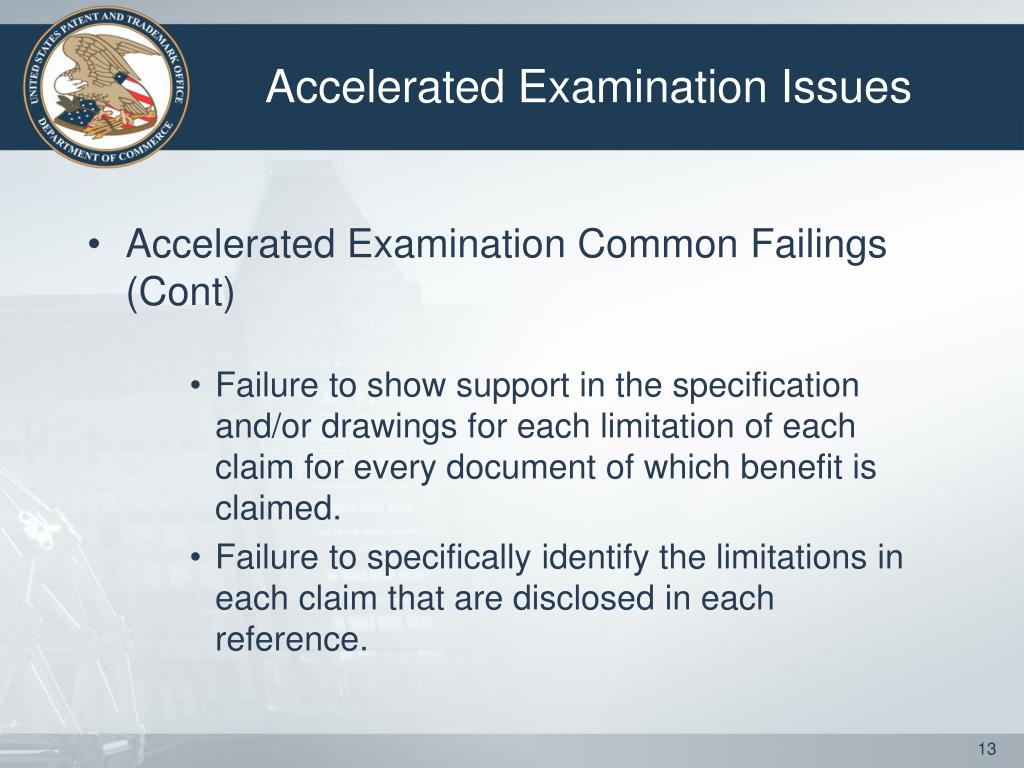 Accelerated Examination Issues