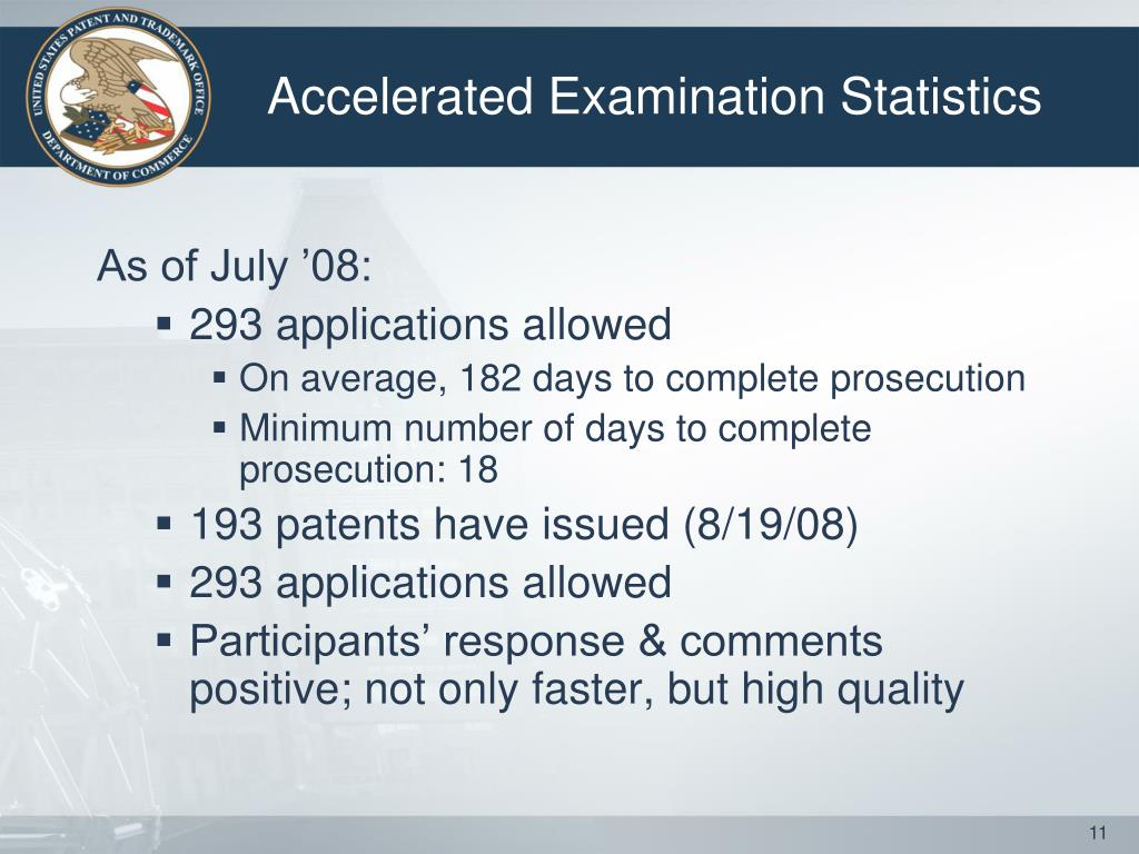 Accelerated Examination Statistics
