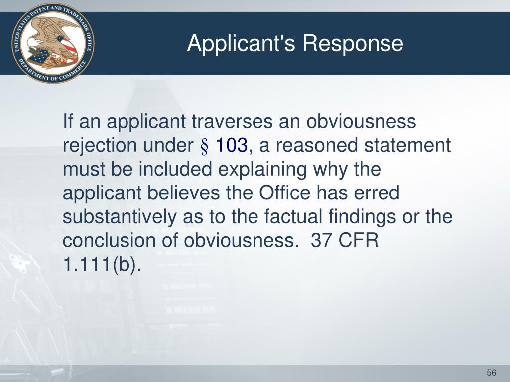 Applicant's Response