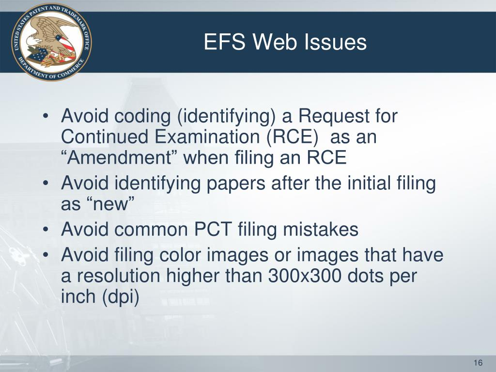 EFS Web Issues
