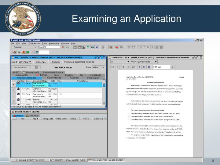Examining an application